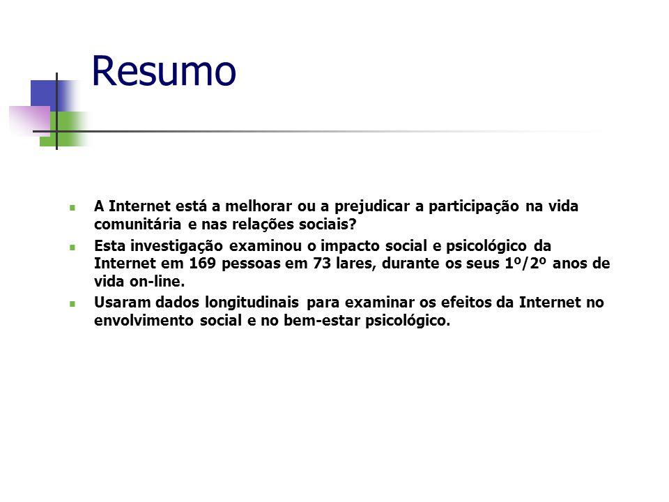Resumo A Internet está a melhorar ou a prejudicar a participação na vida comunitária e nas relações sociais? Esta investigação examinou o impacto soci