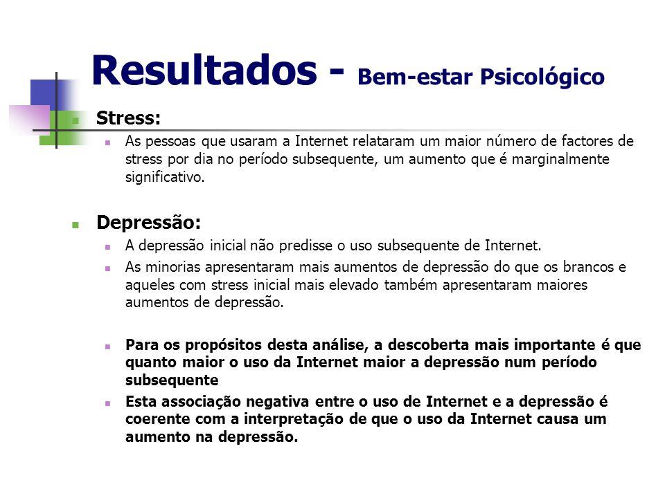 Resultados - Bem-estar Psicológico Stress: As pessoas que usaram a Internet relataram um maior número de factores de stress por dia no período subsequ