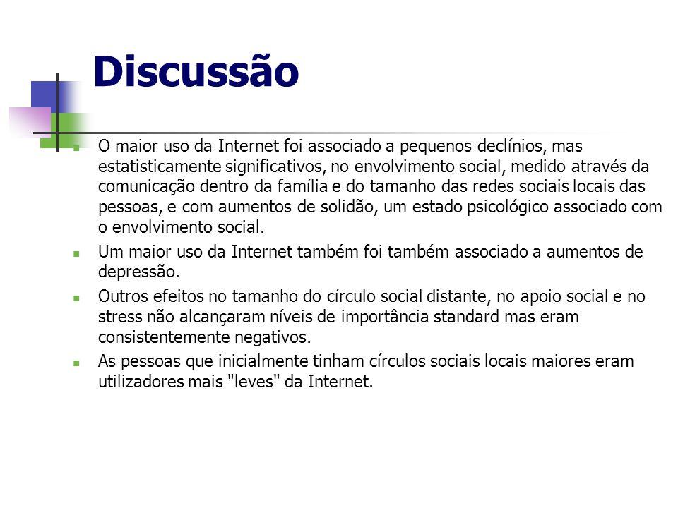 Discussão O maior uso da Internet foi associado a pequenos declínios, mas estatisticamente significativos, no envolvimento social, medido através da c