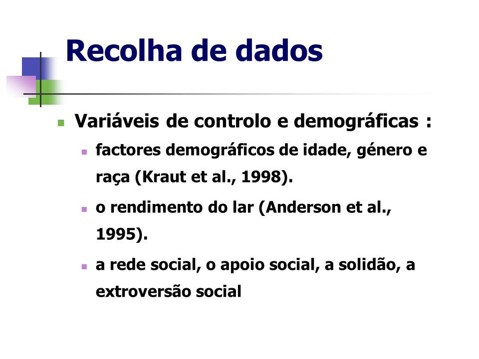 Recolha de dados Variáveis de controlo e demográficas : factores demográficos de idade, género e raça (Kraut et al., 1998). o rendimento do lar (Ander