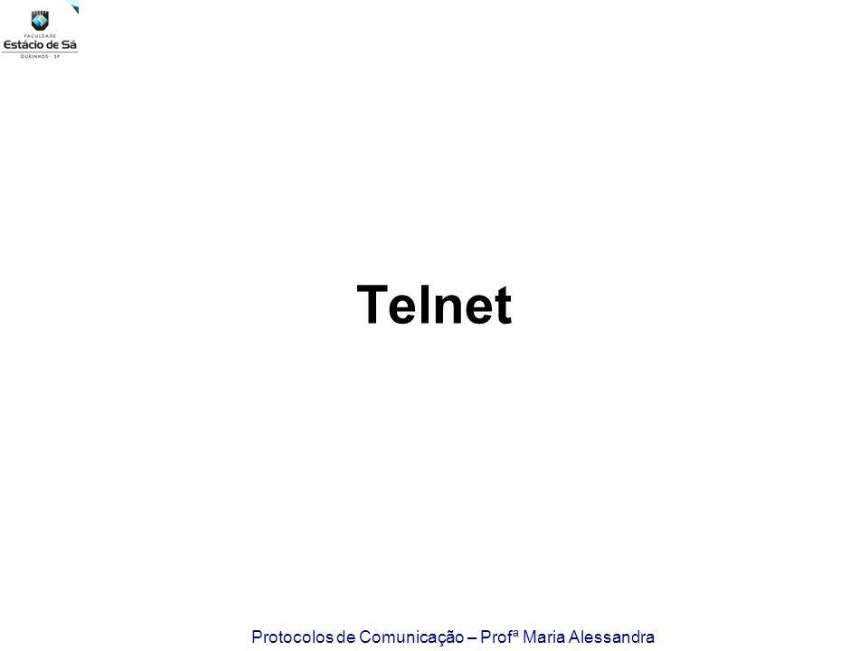 Protocolos de Comunicação – Profª Maria Alessandra Telnet