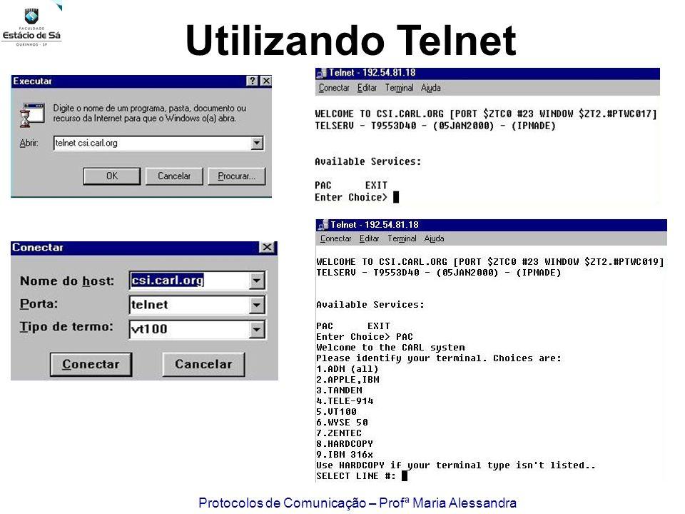 Protocolos de Comunicação – Profª Maria Alessandra Utilizando Telnet