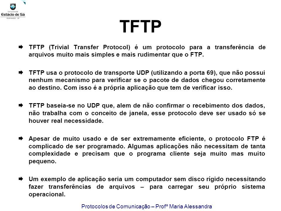 Protocolos de Comunicação – Profª Maria Alessandra TFTP TFTP (Trivial Transfer Protocol) é um protocolo para a transferência de arquivos muito mais si
