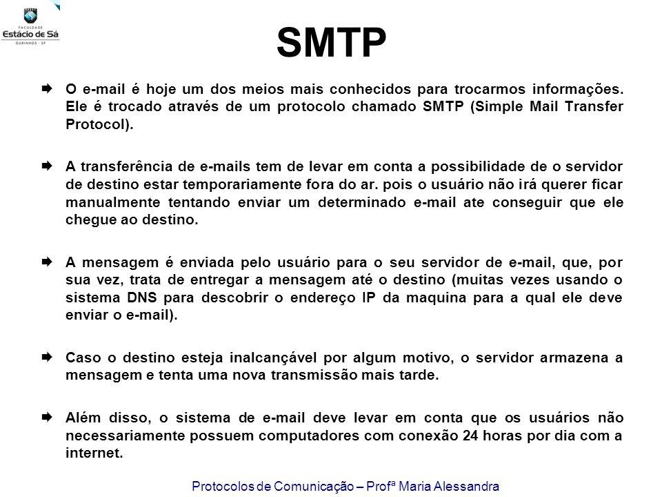 Protocolos de Comunicação – Profª Maria Alessandra SMTP O e-mail é hoje um dos meios mais conhecidos para trocarmos informações. Ele é trocado através