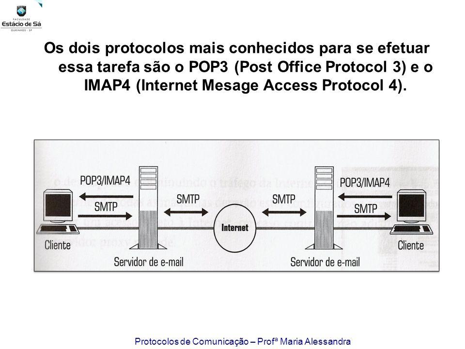 Protocolos de Comunicação – Profª Maria Alessandra Os dois protocolos mais conhecidos para se efetuar essa tarefa são o POP3 (Post Office Protocol 3)