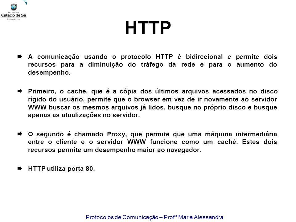 Protocolos de Comunicação – Profª Maria Alessandra HTTP A comunicação usando o protocolo HTTP é bidirecional e permite dois recursos para a diminuição
