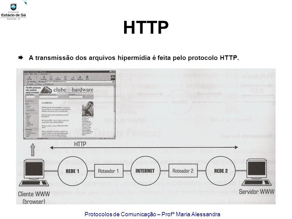 Protocolos de Comunicação – Profª Maria Alessandra HTTP A transmissão dos arquivos hipermídia é feita pelo protocolo HTTP.