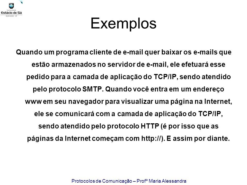 Protocolos de Comunicação – Profª Maria Alessandra Exemplos Quando um programa cliente de e-mail quer baixar os e-mails que estão armazenados no servi