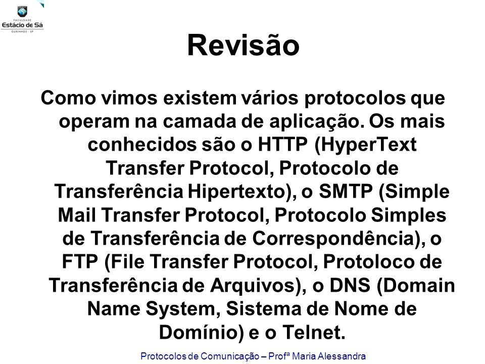 Protocolos de Comunicação – Profª Maria Alessandra Revisão Como vimos existem vários protocolos que operam na camada de aplicação. Os mais conhecidos