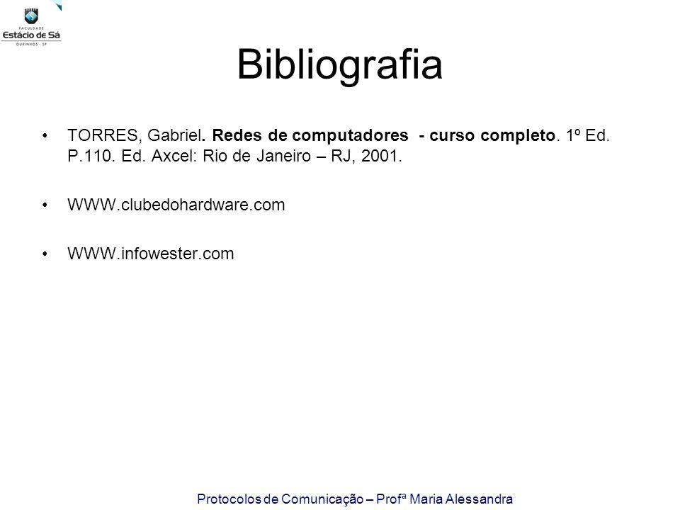 Protocolos de Comunicação – Profª Maria Alessandra Bibliografia TORRES, Gabriel. Redes de computadores - curso completo. 1º Ed. P.110. Ed. Axcel: Rio