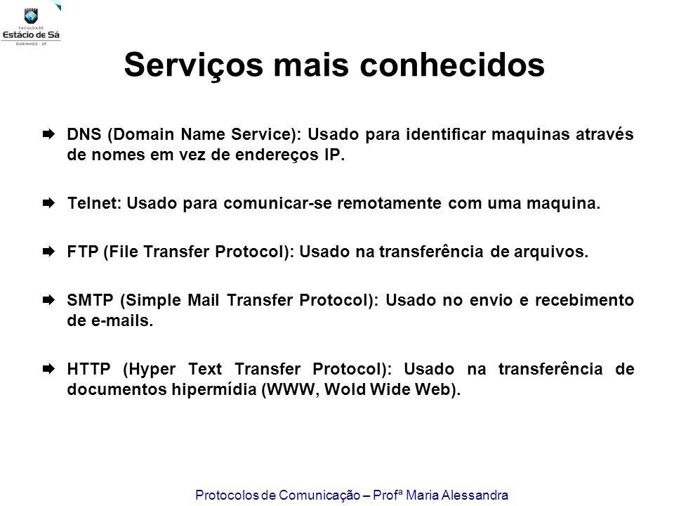 Protocolos de Comunicação – Profª Maria Alessandra Serviços mais conhecidos DNS (Domain Name Service): Usado para identificar maquinas através de nome
