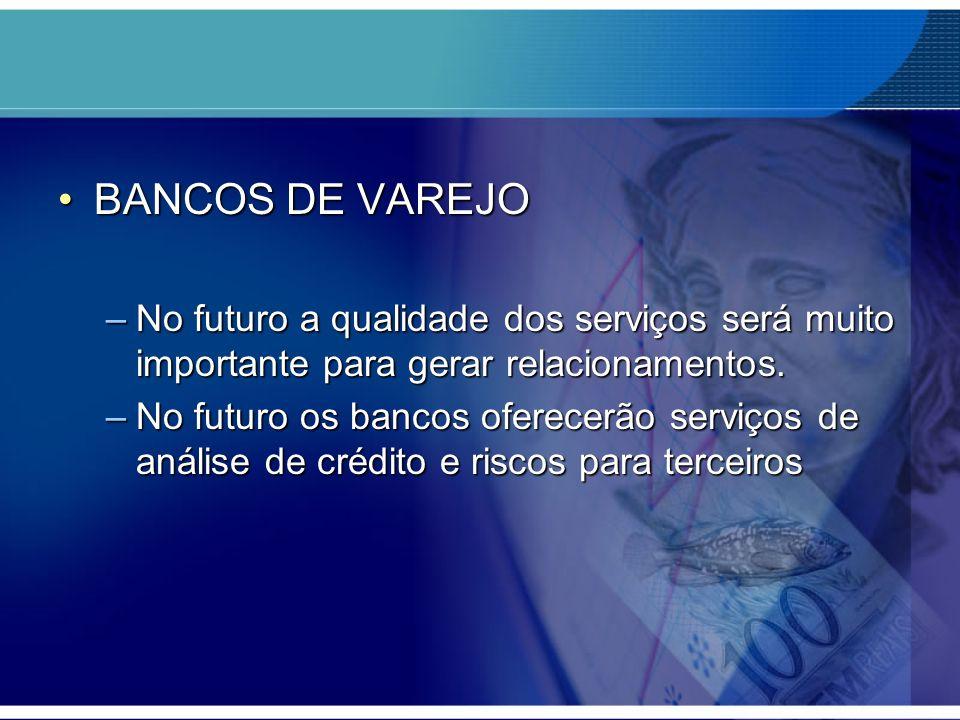 BANCOS DE VAREJOBANCOS DE VAREJO –No futuro a qualidade dos serviços será muito importante para gerar relacionamentos. –No futuro os bancos oferecerão
