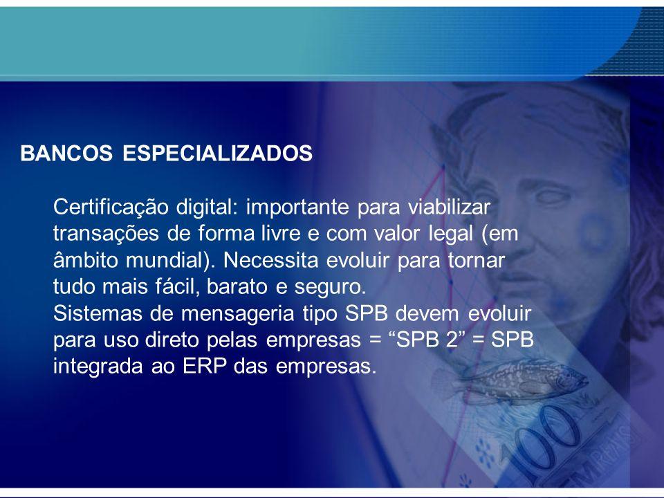BANCOS ESPECIALIZADOS Certificação digital: importante para viabilizar transações de forma livre e com valor legal (em âmbito mundial). Necessita evol