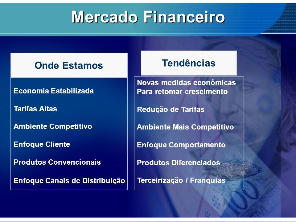 Economia Estabilizada Tarifas Altas Ambiente Competitivo Enfoque Cliente Produtos Convencionais Enfoque Canais de Distribuição Novas medidas econômica