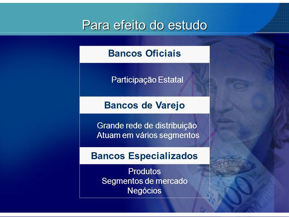 Para efeito do estudo Bancos Oficiais Bancos de Varejo Bancos Especializados Participação Estatal Grande rede de distribuição Atuam em vários segmento
