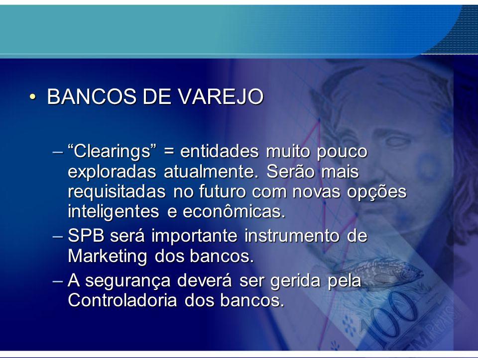 BANCOS DE VAREJOBANCOS DE VAREJO –Clearings = entidades muito pouco exploradas atualmente. Serão mais requisitadas no futuro com novas opções intelige