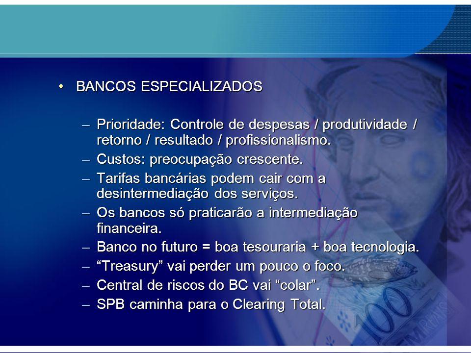 BANCOS ESPECIALIZADOSBANCOS ESPECIALIZADOS –Prioridade: Controle de despesas / produtividade / retorno / resultado / profissionalismo. –Custos: preocu