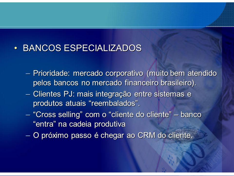BANCOS ESPECIALIZADOSBANCOS ESPECIALIZADOS –Prioridade: mercado corporativo (muito bem atendido pelos bancos no mercado financeiro brasileiro). –Clien