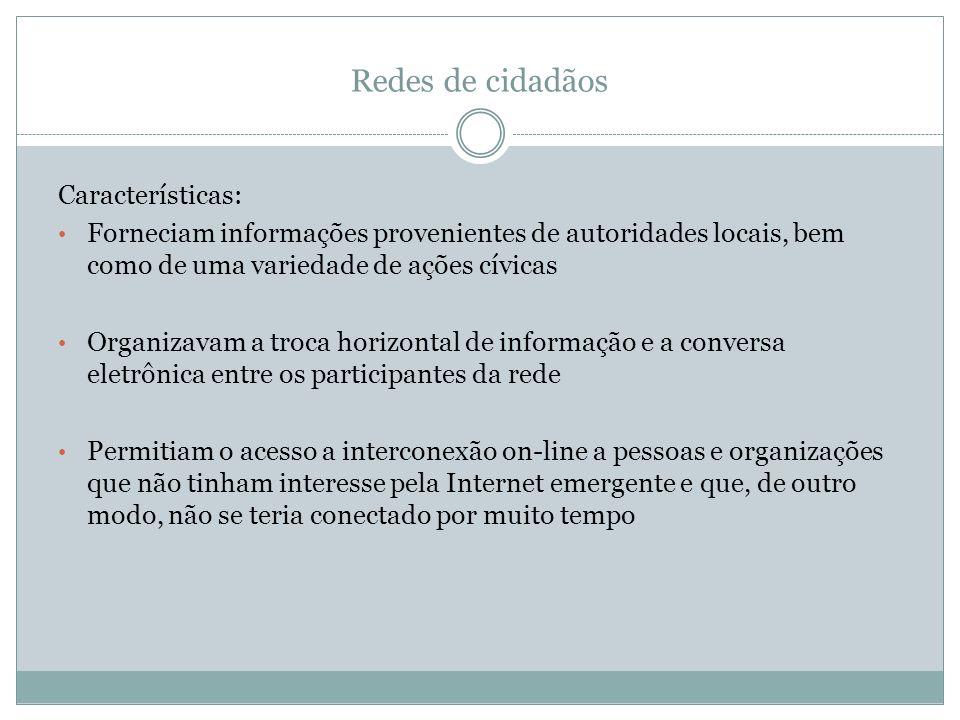 Redes de cidadãos Características: Forneciam informações provenientes de autoridades locais, bem como de uma variedade de ações cívicas Organizavam a