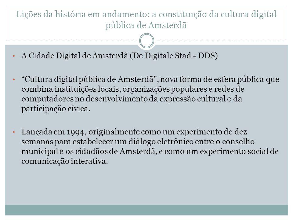Lições da história em andamento: a constituição da cultura digital pública de Amsterdã A Cidade Digital de Amsterdã (De Digitale Stad - DDS) Cultura d