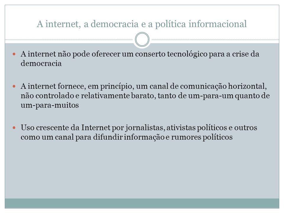 A internet, a democracia e a política informacional A internet não pode oferecer um conserto tecnológico para a crise da democracia A internet fornece