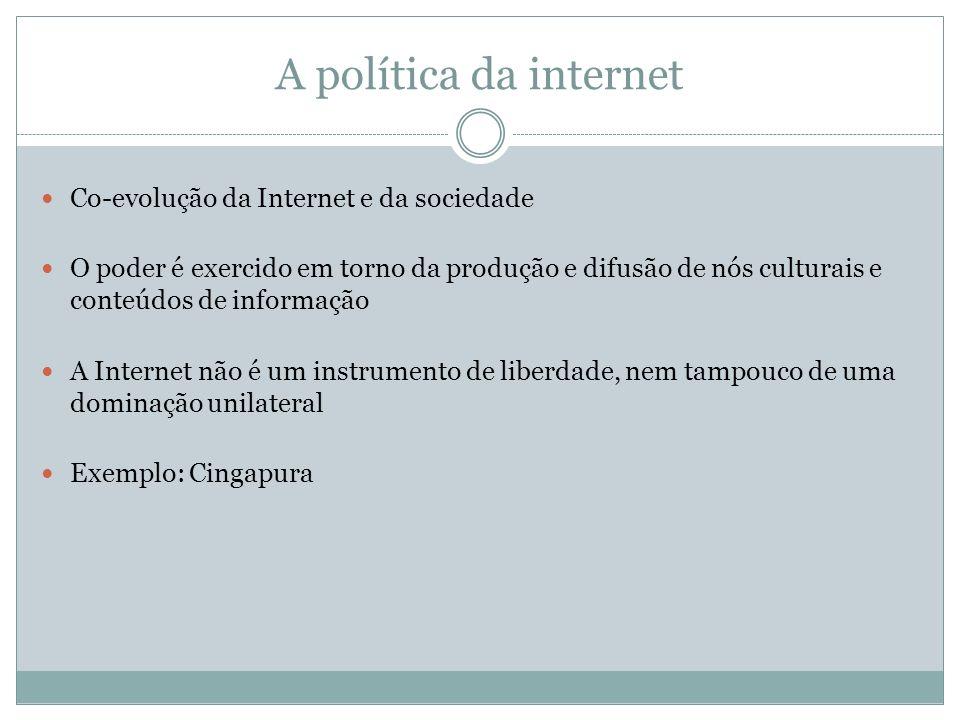 A política da internet Co-evolução da Internet e da sociedade O poder é exercido em torno da produção e difusão de nós culturais e conteúdos de inform