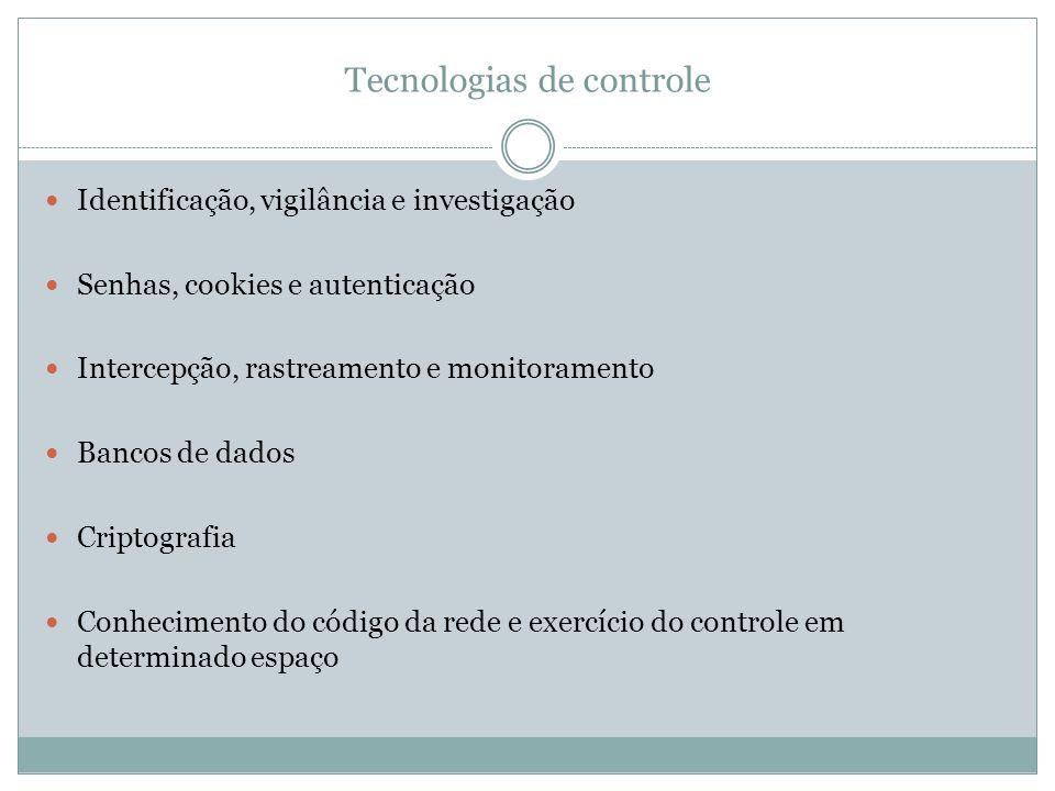 Tecnologias de controle Identificação, vigilância e investigação Senhas, cookies e autenticação Intercepção, rastreamento e monitoramento Bancos de da
