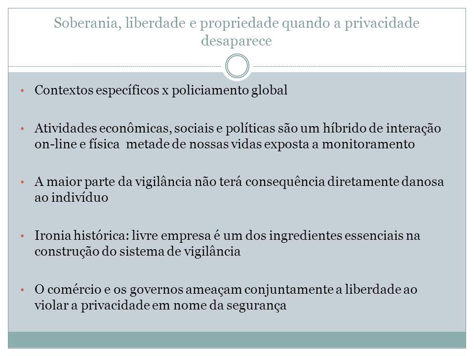 Soberania, liberdade e propriedade quando a privacidade desaparece Contextos específicos x policiamento global Atividades econômicas, sociais e políti