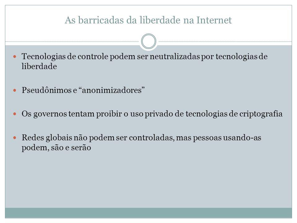 As barricadas da liberdade na Internet Tecnologias de controle podem ser neutralizadas por tecnologias de liberdade Pseudônimos e anonimizadores Os go