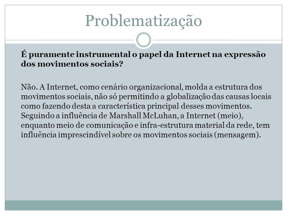 Problematização É puramente instrumental o papel da Internet na expressão dos movimentos sociais? Não. A Internet, como cenário organizacional, molda