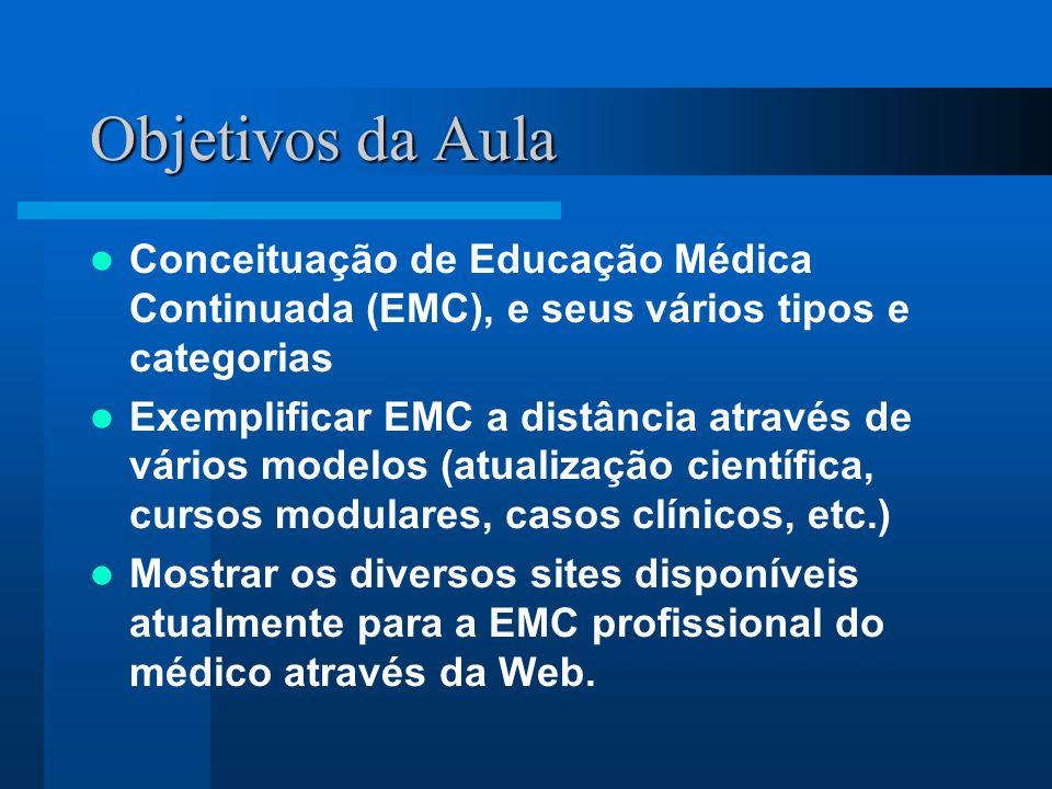 Sites de Educação Médica Continuada CMEinfo: www.cmeinfo.com CMEWeb: www.cmeweb.com CMEcourses: www.cmecourses.com AMA WebCME: www.ama-assn.org/medselec MedSchool: www.medschool.com HELIX: www.helix.com MedScape CME: www.medscape.com Medical Matrix CME: www.medmatrix.org Arc/Mesa Educators: www.arcmesa.com Bibliomed: www.bibliomed.com.br Conexão Médica: www.conexaomedica.com.br