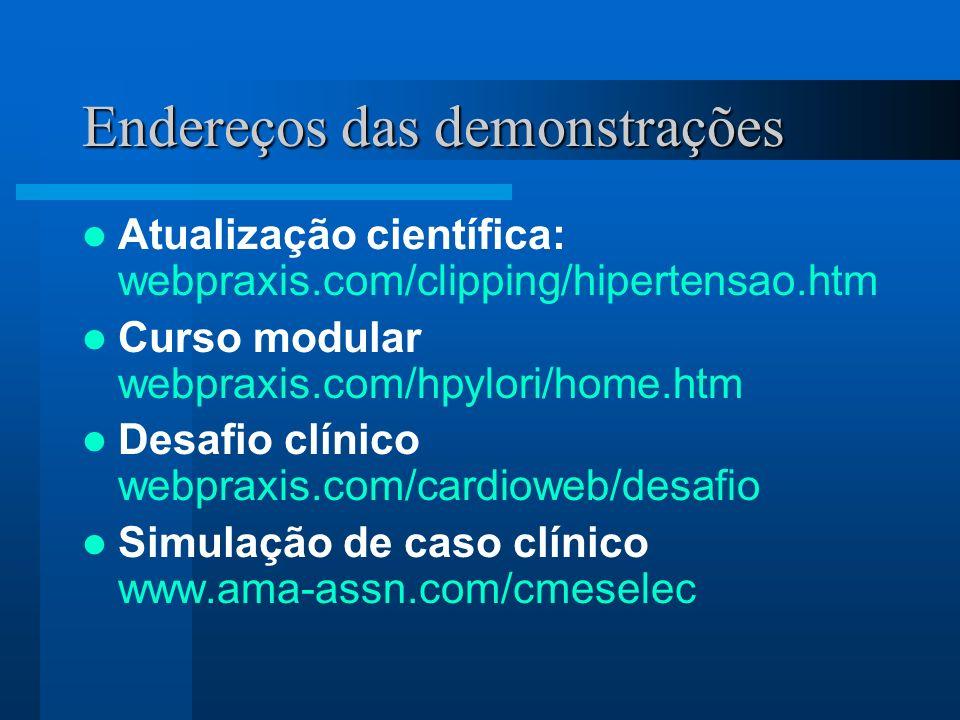 Endereços das demonstrações Atualização científica: webpraxis.com/clipping/hipertensao.htm Curso modular webpraxis.com/hpylori/home.htm Desafio clínic