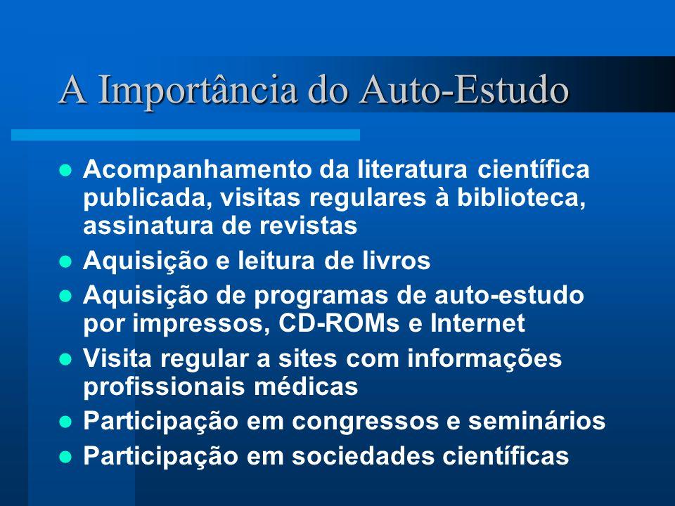 A Importância do Auto-Estudo Acompanhamento da literatura científica publicada, visitas regulares à biblioteca, assinatura de revistas Aquisição e lei