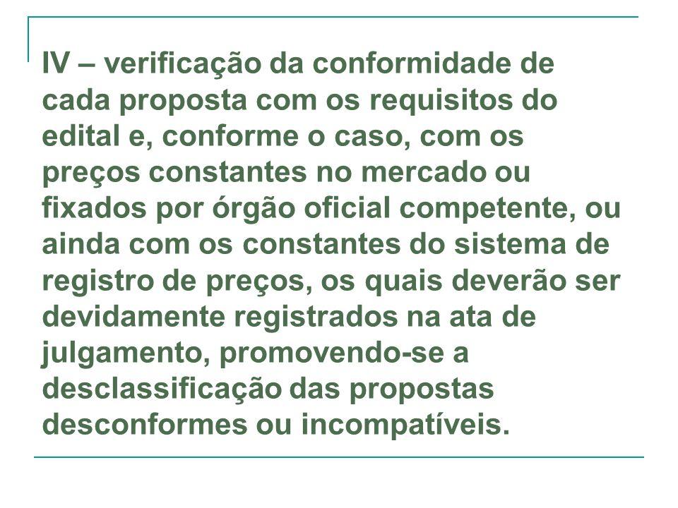 IV – verificação da conformidade de cada proposta com os requisitos do edital e, conforme o caso, com os preços constantes no mercado ou fixados por ó