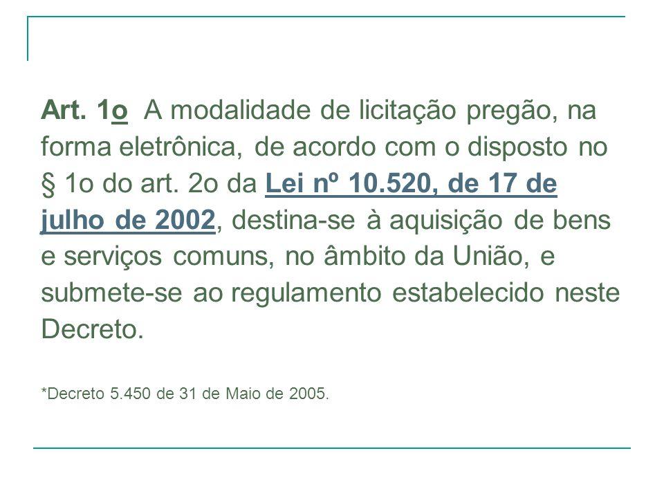 Art. 1o A modalidade de licitação pregão, na forma eletrônica, de acordo com o disposto no § 1o do art. 2o da Lei nº 10.520, de 17 deLei nº 10.520, de
