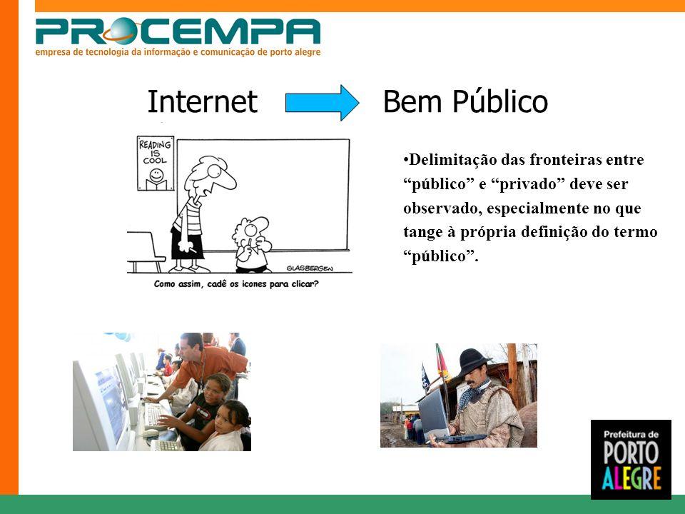 Internet Bem Público Delimitação das fronteiras entre público e privado deve ser observado, especialmente no que tange à própria definição do termo público.