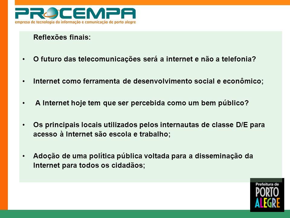 Reflexões finais: O futuro das telecomunicações será a internet e não a telefonia? Internet como ferramenta de desenvolvimento social e econômico; A I