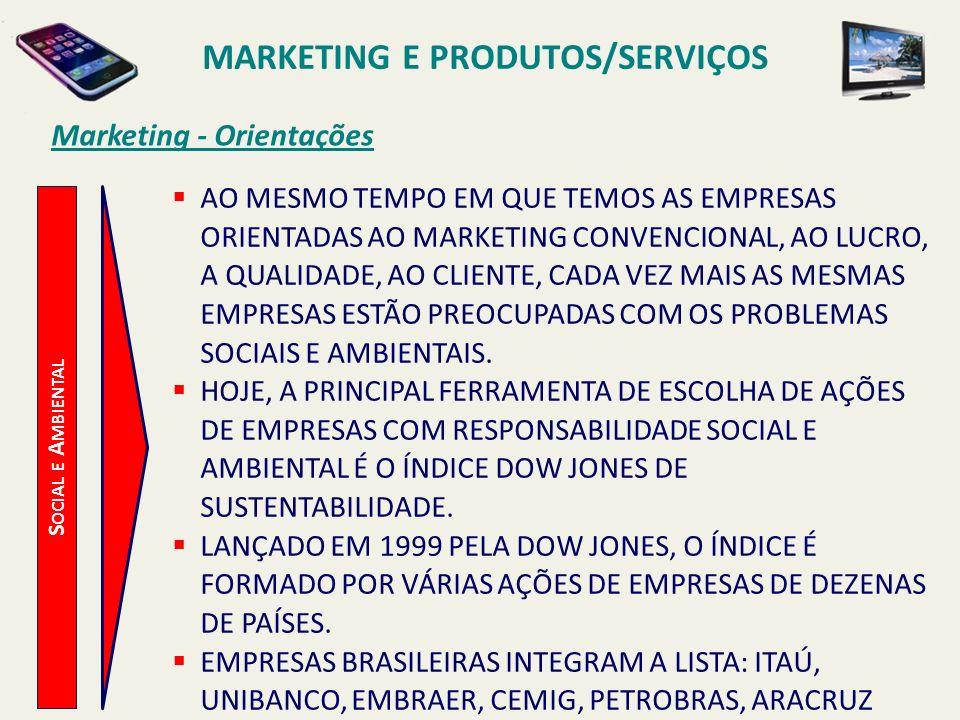 S OCIAL E A MBIENTAL Marketing - Orientações AO MESMO TEMPO EM QUE TEMOS AS EMPRESAS ORIENTADAS AO MARKETING CONVENCIONAL, AO LUCRO, A QUALIDADE, AO C