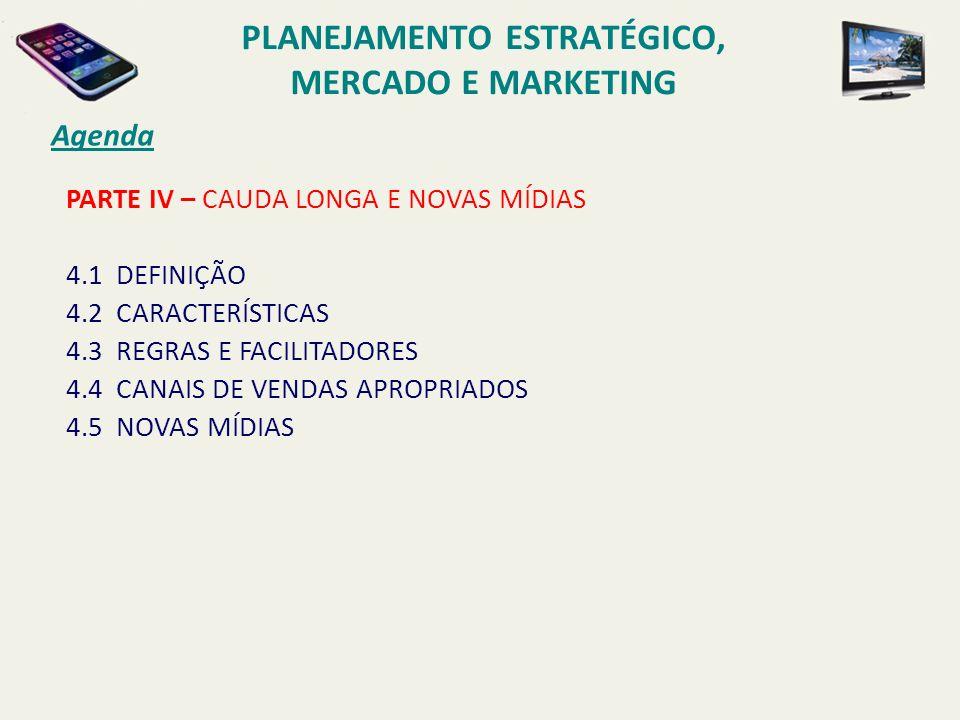 PARTE IV – CAUDA LONGA E NOVAS MÍDIAS 4.1 DEFINIÇÃO 4.2 CARACTERÍSTICAS 4.3 REGRAS E FACILITADORES 4.4 CANAIS DE VENDAS APROPRIADOS 4.5 NOVAS MÍDIAS A