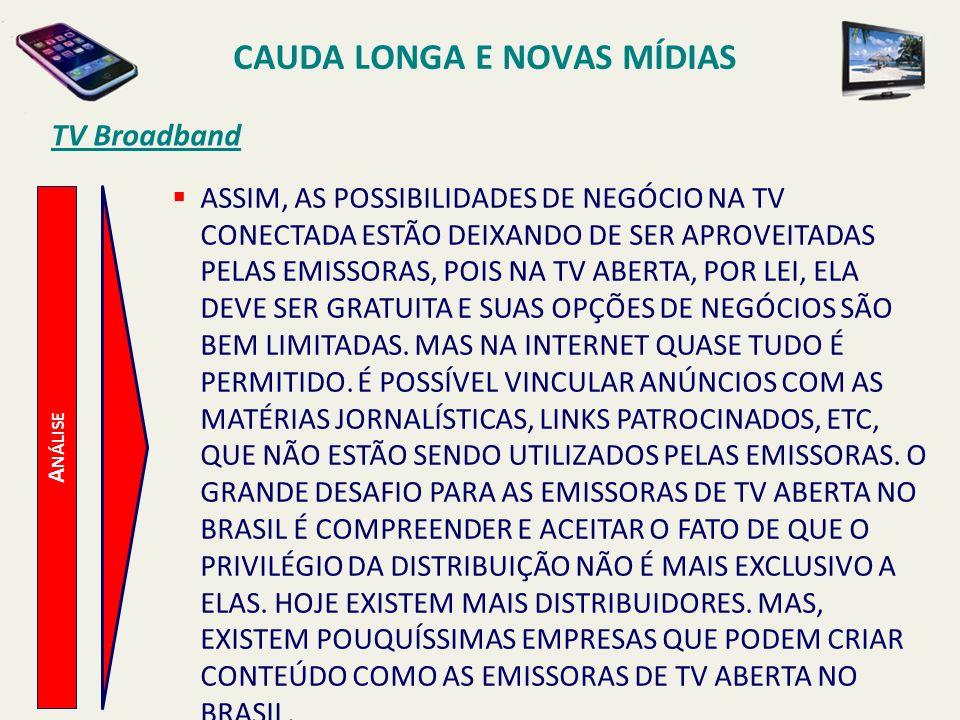 TV Broadband A NÁLISE CAUDA LONGA E NOVAS MÍDIAS ASSIM, AS POSSIBILIDADES DE NEGÓCIO NA TV CONECTADA ESTÃO DEIXANDO DE SER APROVEITADAS PELAS EMISSORA