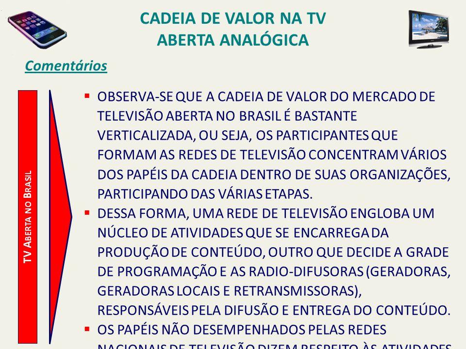 TV A BERTA NO B RASIL Comentários OBSERVA-SE QUE A CADEIA DE VALOR DO MERCADO DE TELEVISÃO ABERTA NO BRASIL É BASTANTE VERTICALIZADA, OU SEJA, OS PART