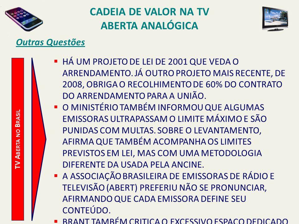 TV A BERTA NO B RASIL Outras Questões HÁ UM PROJETO DE LEI DE 2001 QUE VEDA O ARRENDAMENTO. JÁ OUTRO PROJETO MAIS RECENTE, DE 2008, OBRIGA O RECOLHIME