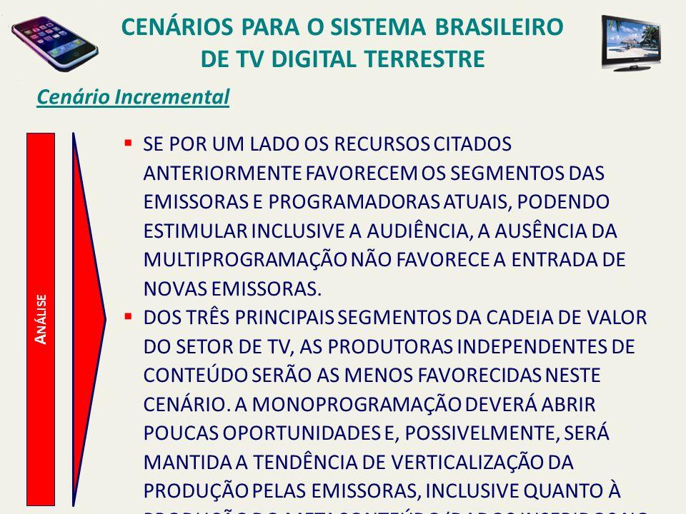 CENÁRIOS PARA O SISTEMA BRASILEIRO DE TV DIGITAL TERRESTRE A NÁLISE Cenário Incremental SE POR UM LADO OS RECURSOS CITADOS ANTERIORMENTE FAVORECEM OS