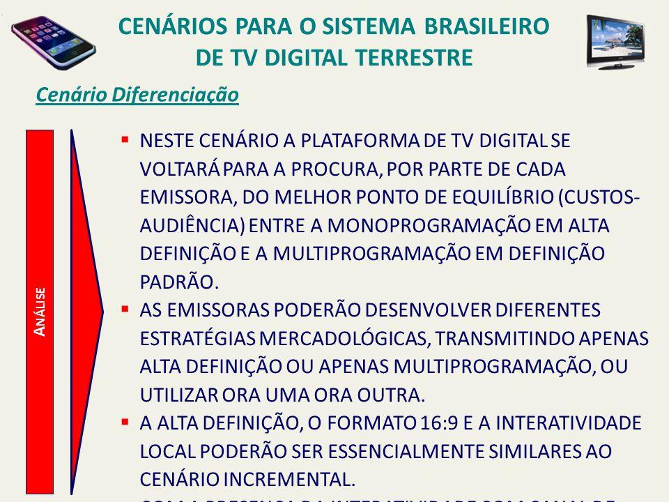 CENÁRIOS PARA O SISTEMA BRASILEIRO DE TV DIGITAL TERRESTRE A NÁLISE Cenário Diferenciação NESTE CENÁRIO A PLATAFORMA DE TV DIGITAL SE VOLTARÁ PARA A P