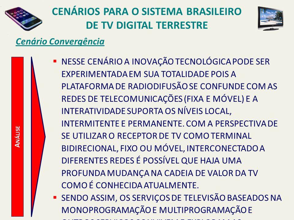 CENÁRIOS PARA O SISTEMA BRASILEIRO DE TV DIGITAL TERRESTRE A NÁLISE Cenário Convergência NESSE CENÁRIO A INOVAÇÃO TECNOLÓGICA PODE SER EXPERIMENTADA E