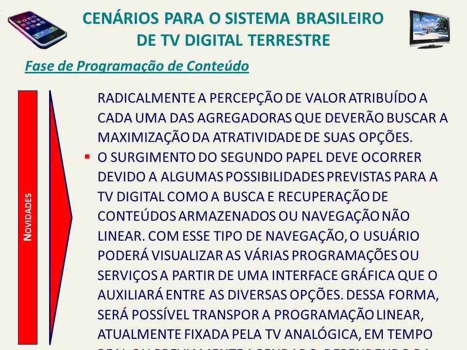 CENÁRIOS PARA O SISTEMA BRASILEIRO DE TV DIGITAL TERRESTRE N OVIDADES Fase de Programação de Conteúdo RADICALMENTE A PERCEPÇÃO DE VALOR ATRIBUÍDO A CA
