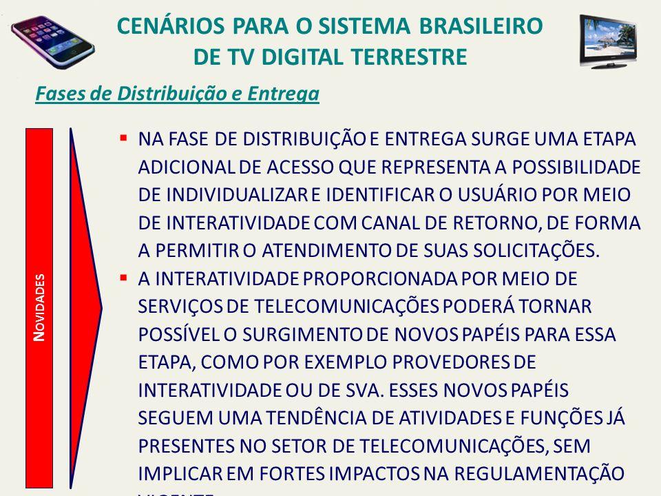 CENÁRIOS PARA O SISTEMA BRASILEIRO DE TV DIGITAL TERRESTRE N OVIDADES Fases de Distribuição e Entrega NA FASE DE DISTRIBUIÇÃO E ENTREGA SURGE UMA ETAP