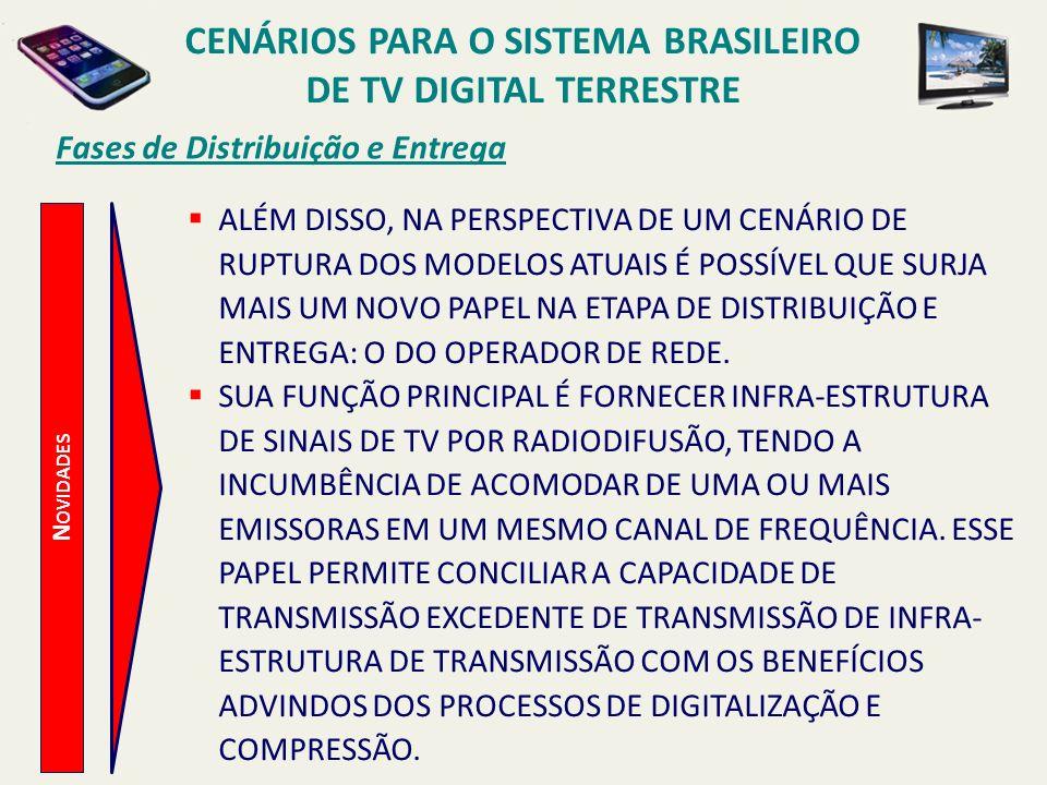 CENÁRIOS PARA O SISTEMA BRASILEIRO DE TV DIGITAL TERRESTRE N OVIDADES Fases de Distribuição e Entrega ALÉM DISSO, NA PERSPECTIVA DE UM CENÁRIO DE RUPT