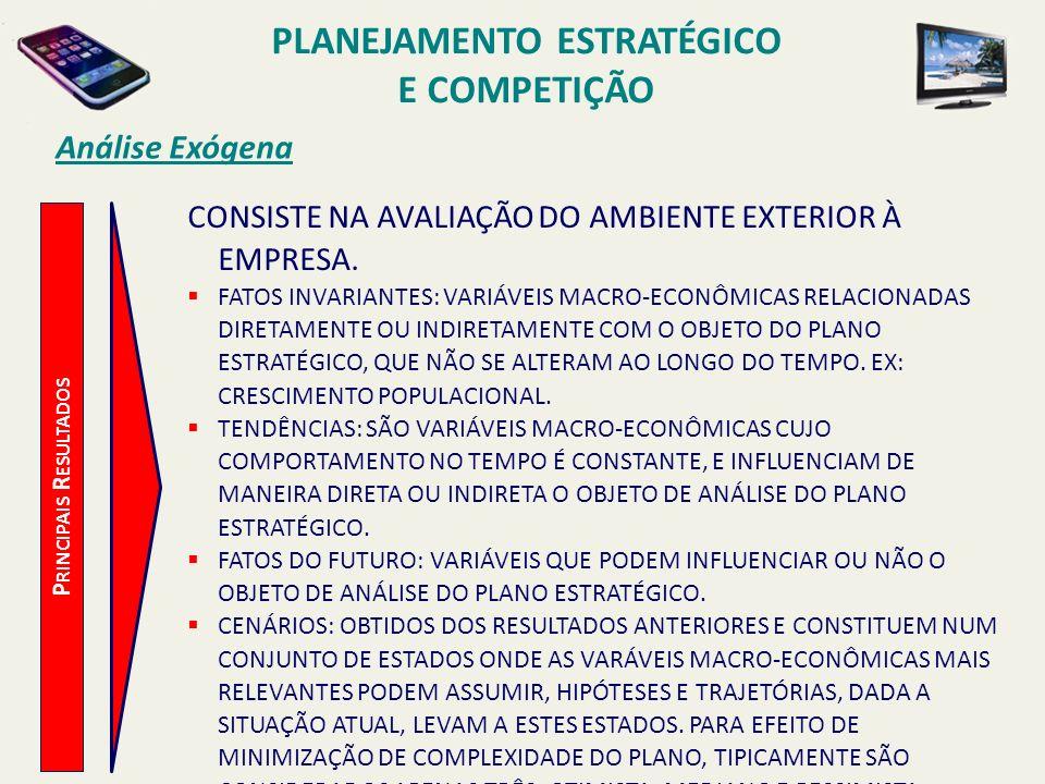 P RINCIPAIS R ESULTADOS Análise Exógena CONSISTE NA AVALIAÇÃO DO AMBIENTE EXTERIOR À EMPRESA. FATOS INVARIANTES: VARIÁVEIS MACRO-ECONÔMICAS RELACIONAD