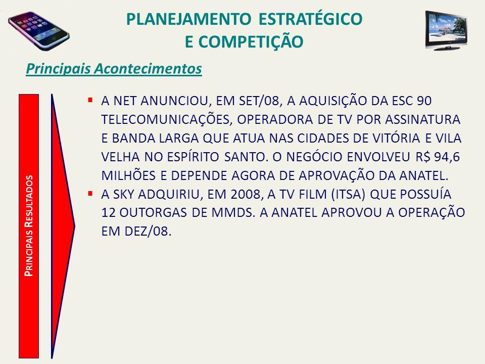 Principais Acontecimentos A NET ANUNCIOU, EM SET/08, A AQUISIÇÃO DA ESC 90 TELECOMUNICAÇÕES, OPERADORA DE TV POR ASSINATURA E BANDA LARGA QUE ATUA NAS